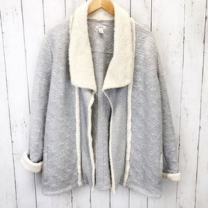 LL Bean Gray Sherpa Lined Cardigan Sz L ::MM6